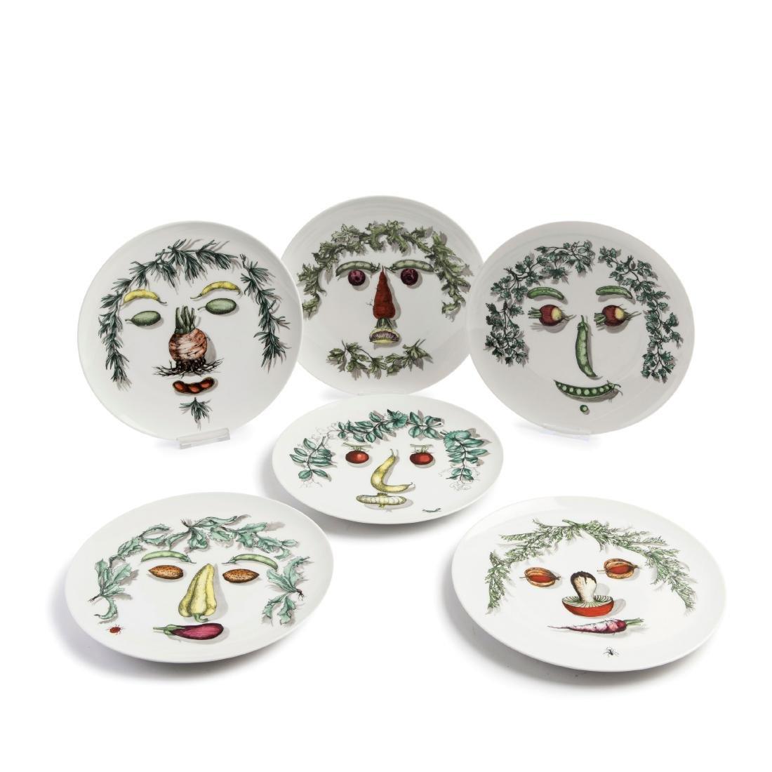 Six 'Arcimboldesca' plates, 1950/60s