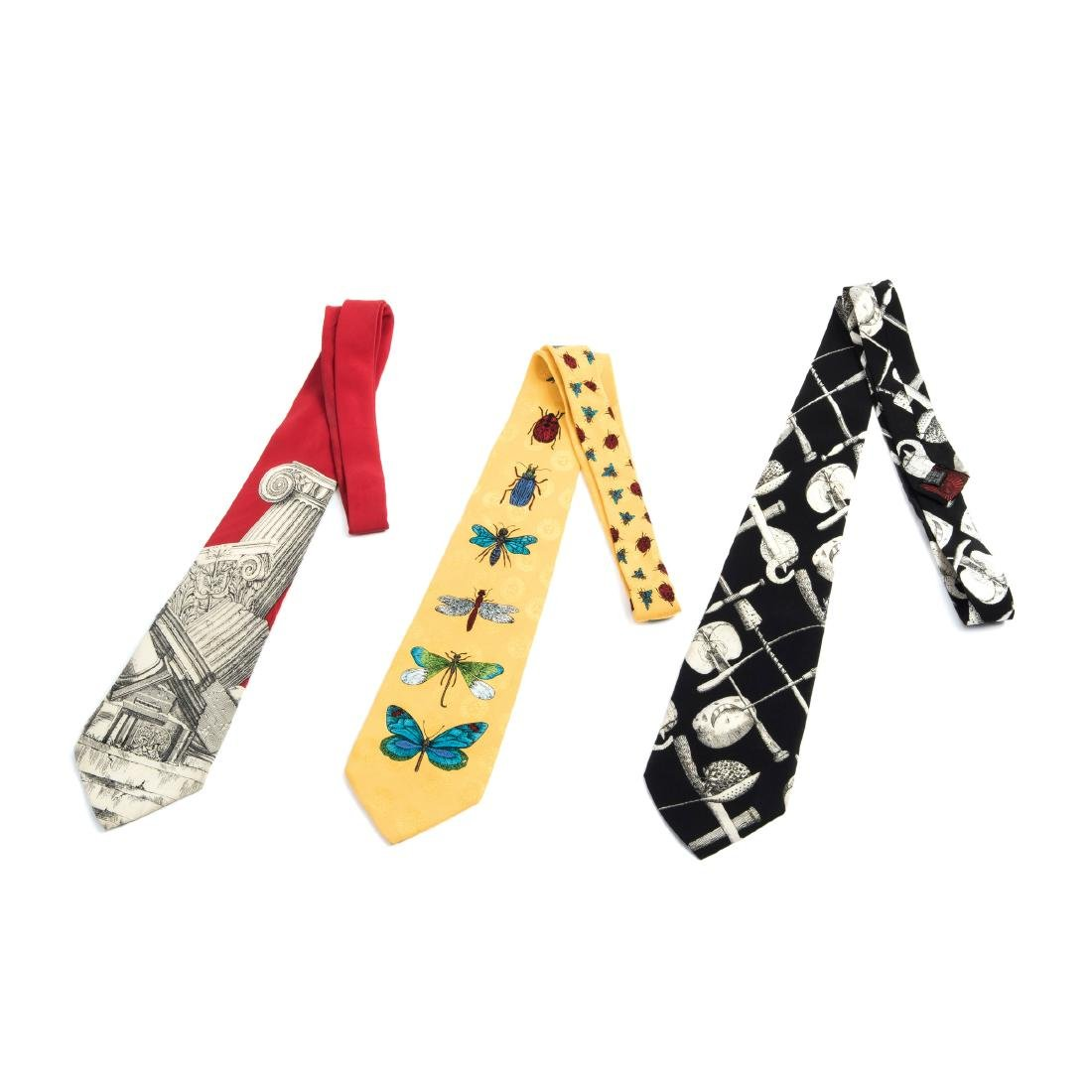 Three ties, 'Insetti', 'Rovine Romane' and 'Frutta e