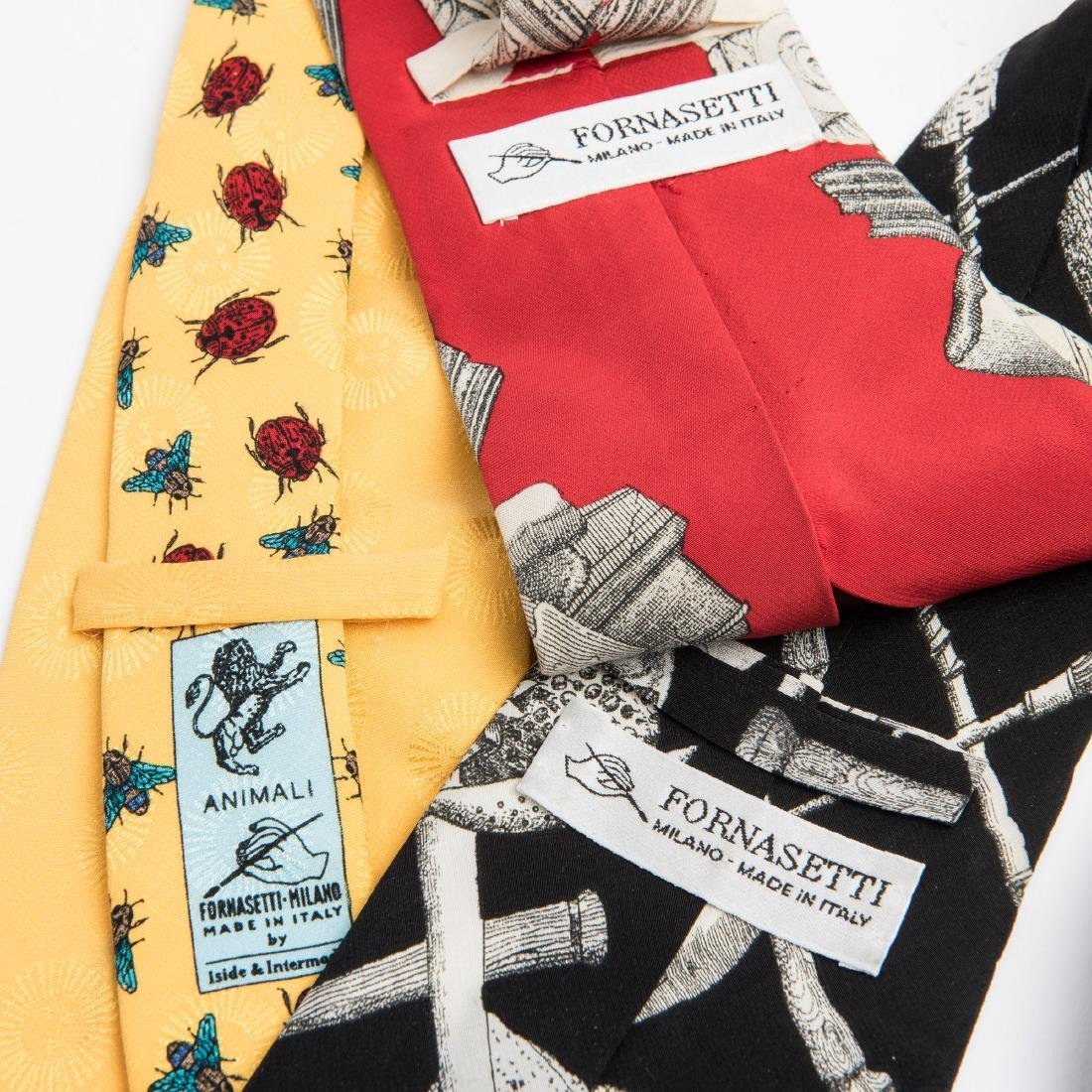Three ties, 'Insetti', 'Rovine Romane' and 'Frutta e - 2