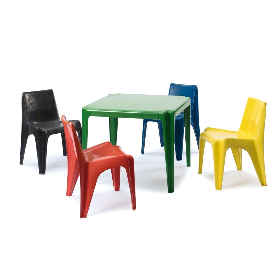 Table and four 'BA 1171' stacking chairs, 1964