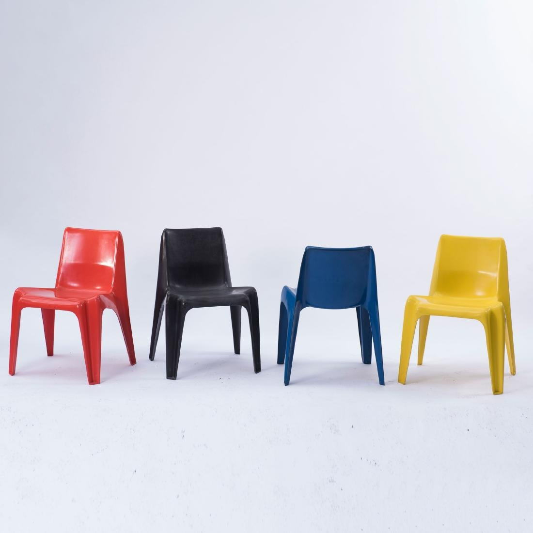 Table and four 'BA 1171' stacking chairs, 1964 - 2