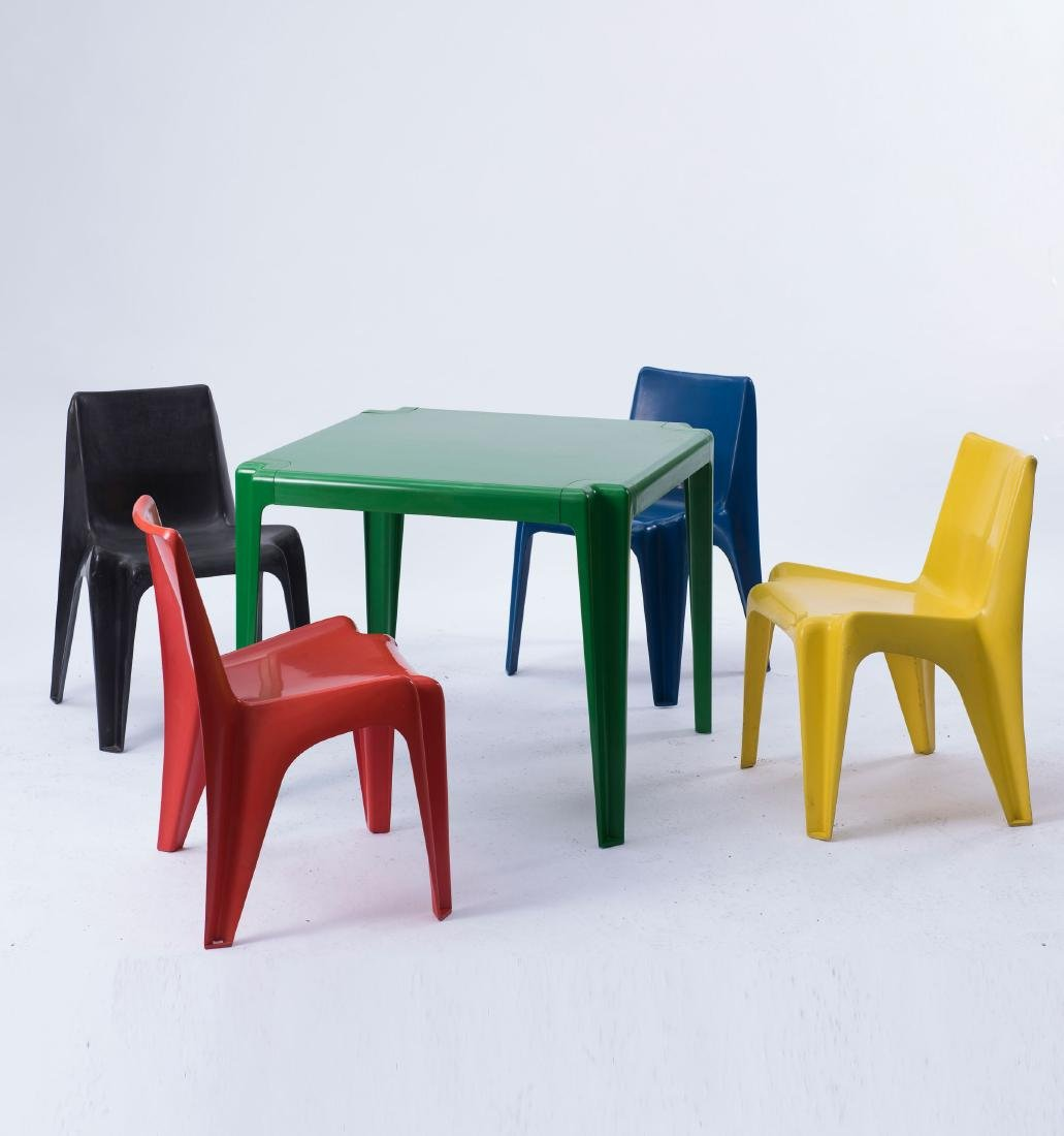 Table and four 'BA 1171' stacking chairs, 1964 - 4