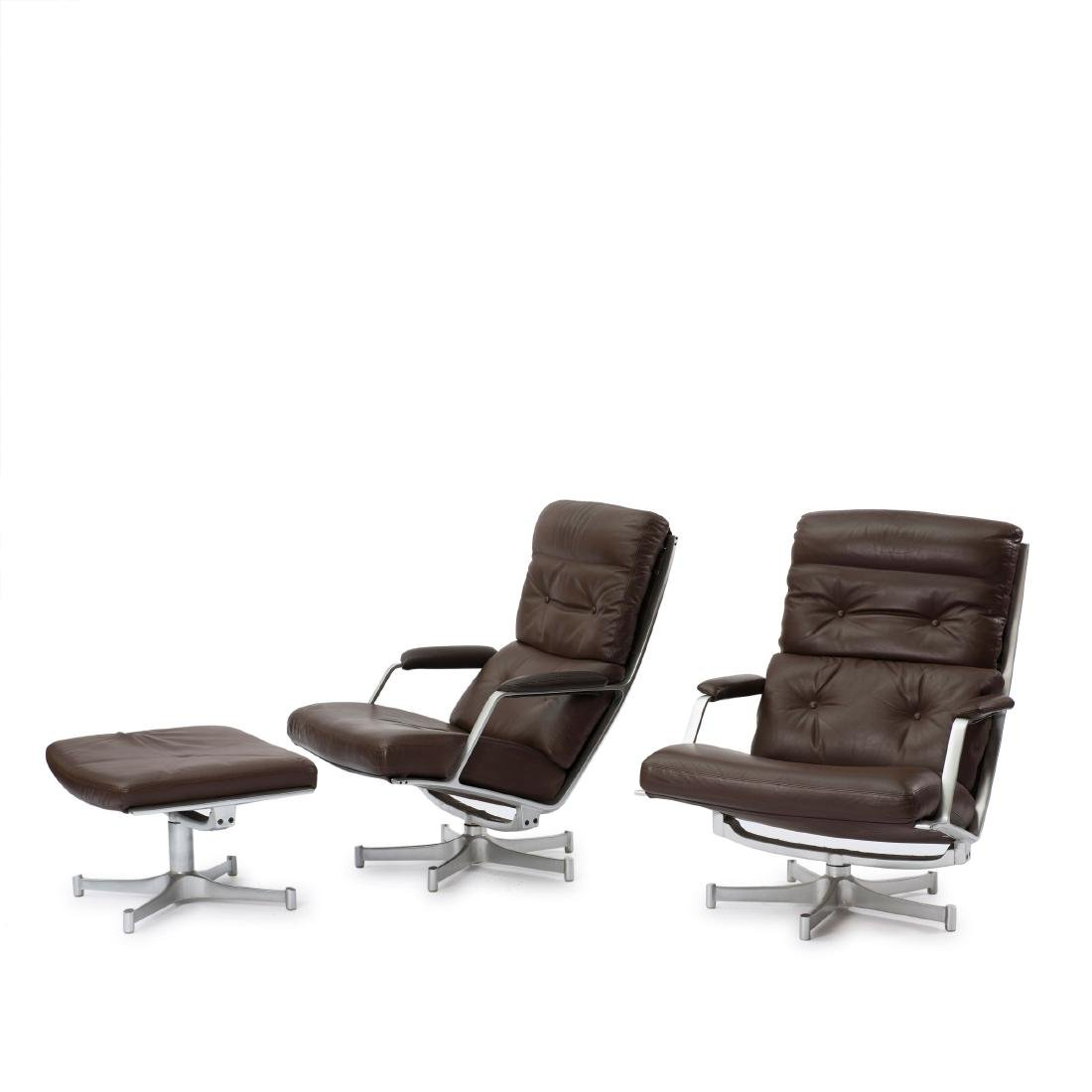 Two 'FK 85' easy chairs and one ottoman, c. 1968