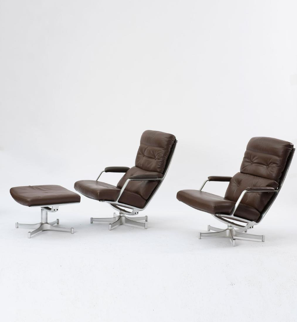 Two 'FK 85' easy chairs and one ottoman, c. 1968 - 2