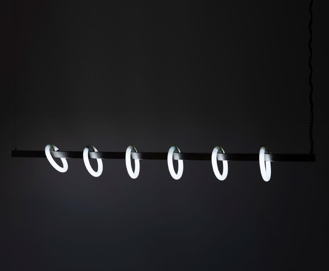 Ceiling light with neon rings, 1980s - 2