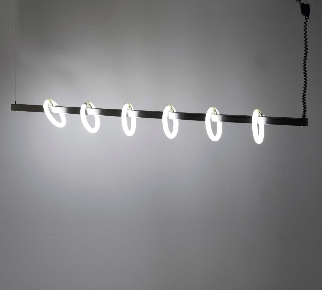 Ceiling light with neon rings, 1980s - 5
