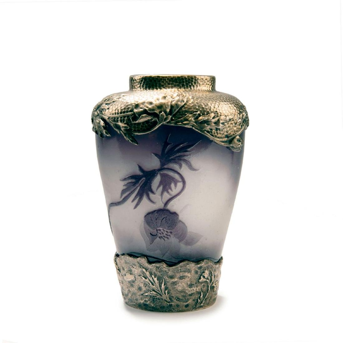 'Pavots' vase with silver mounting by Georges - 2