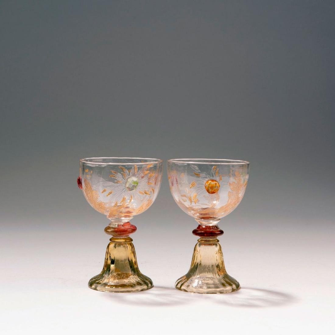 Two sherry glasses from the 'Chrysanthèmes' set, 1903