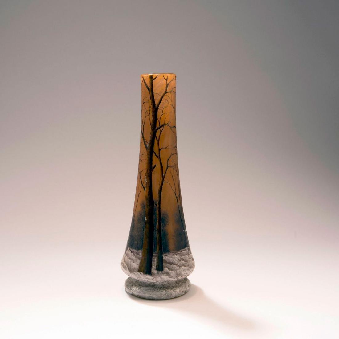 'Crépuscule sous la neige' or 'Arbres en hiver' vase, - 3