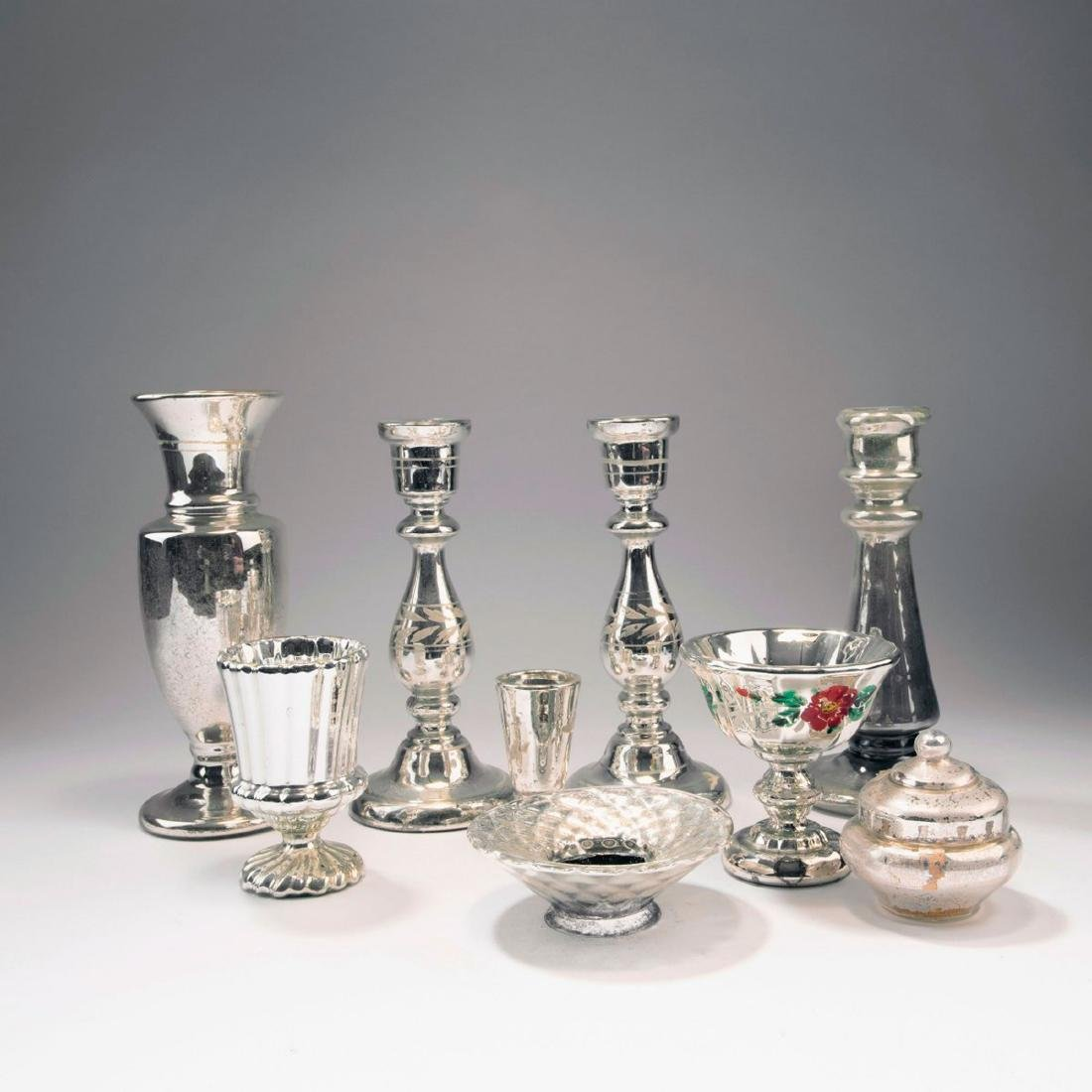 Mixed lot of silvered glass, 2nd half of the 19th