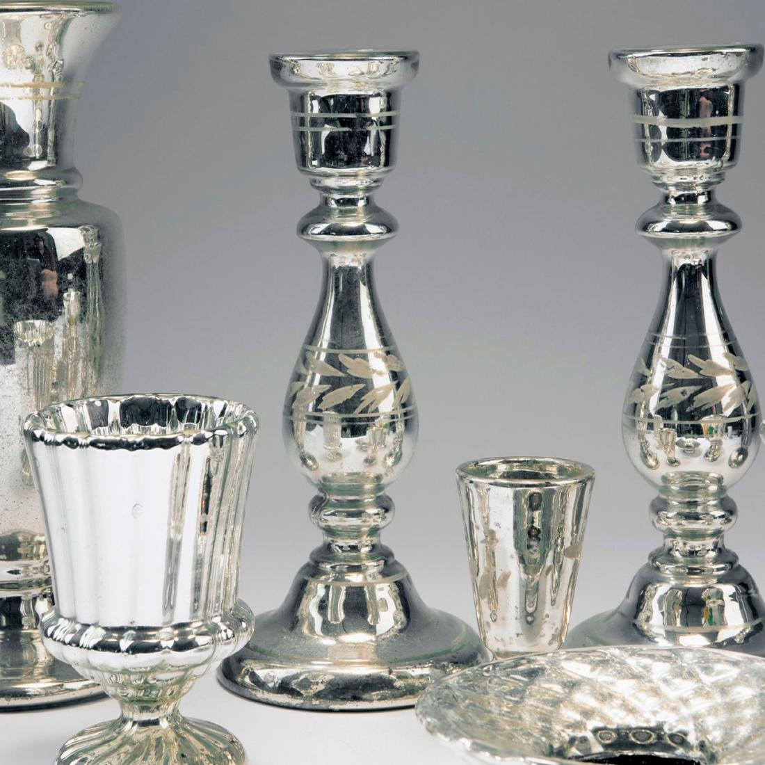 Mixed lot of silvered glass, 2nd half of the 19th - 3