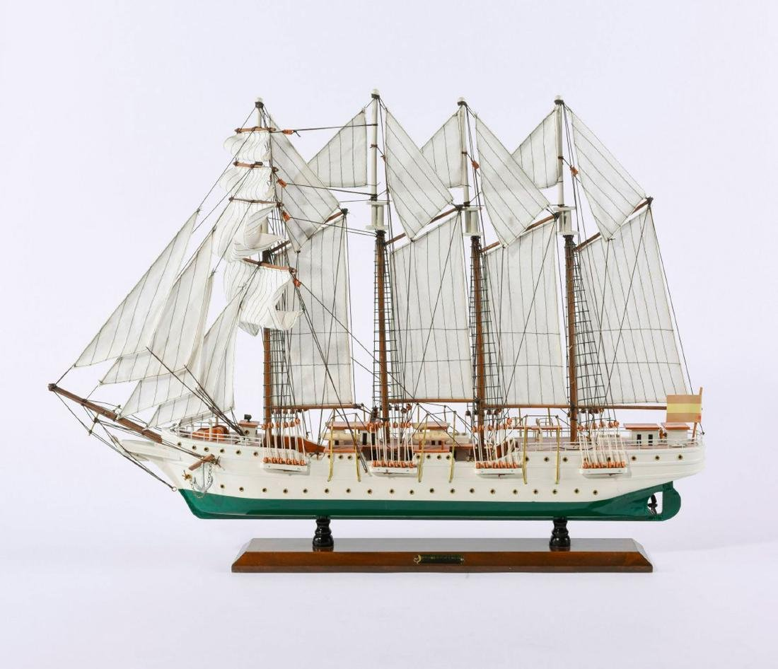 Model four-masted schooner 'J.S. Elcano'