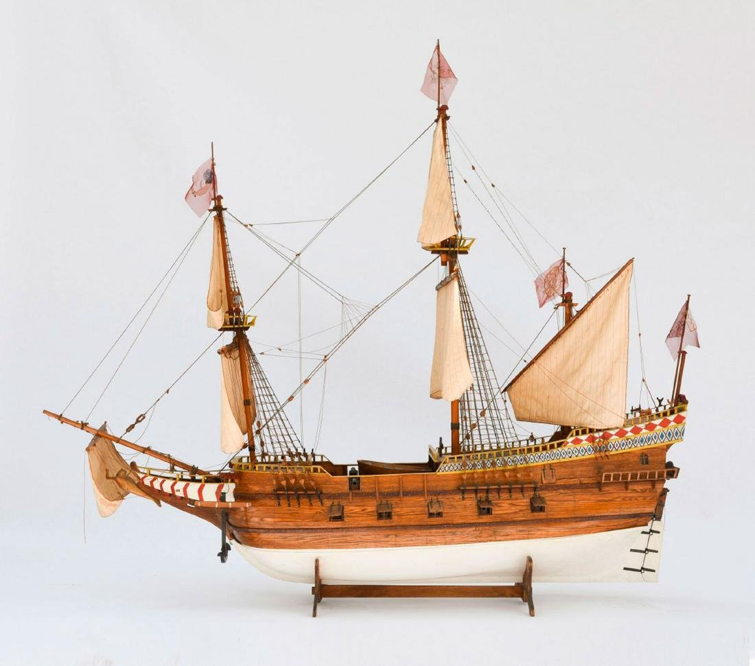 Model four-masted Spanish galleon