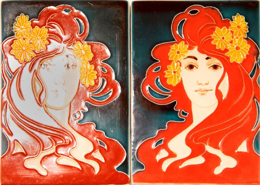 Two tiles 'Women's profile', c. 1900