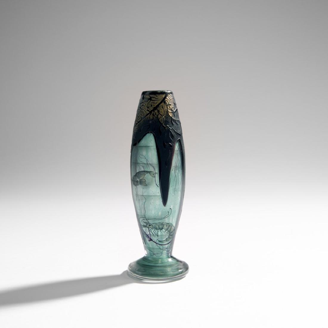 Daum Freres, 'Algues et Poissons' vase, 1898