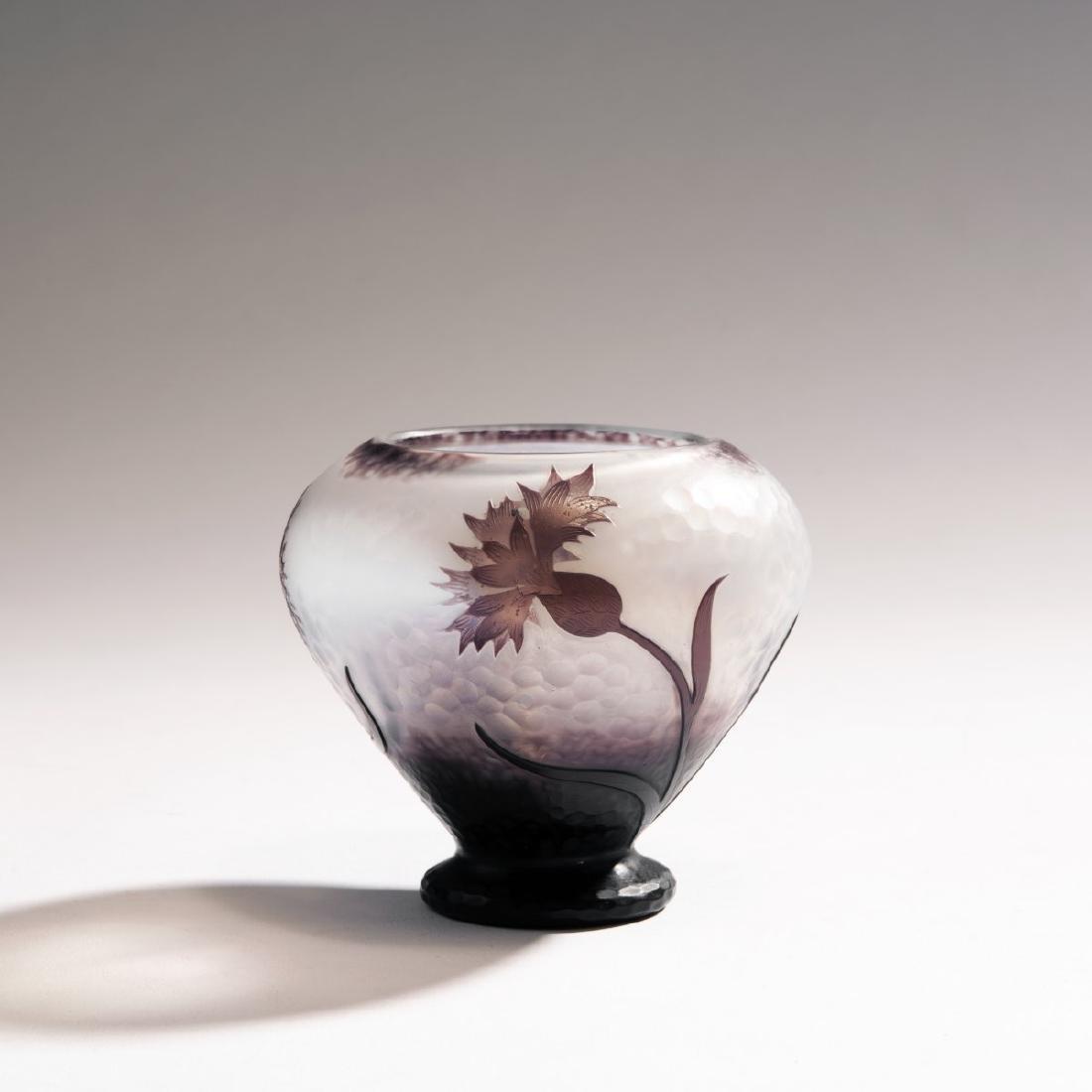 Daum Freres, 'Centauree' Martele vase, c. 1898