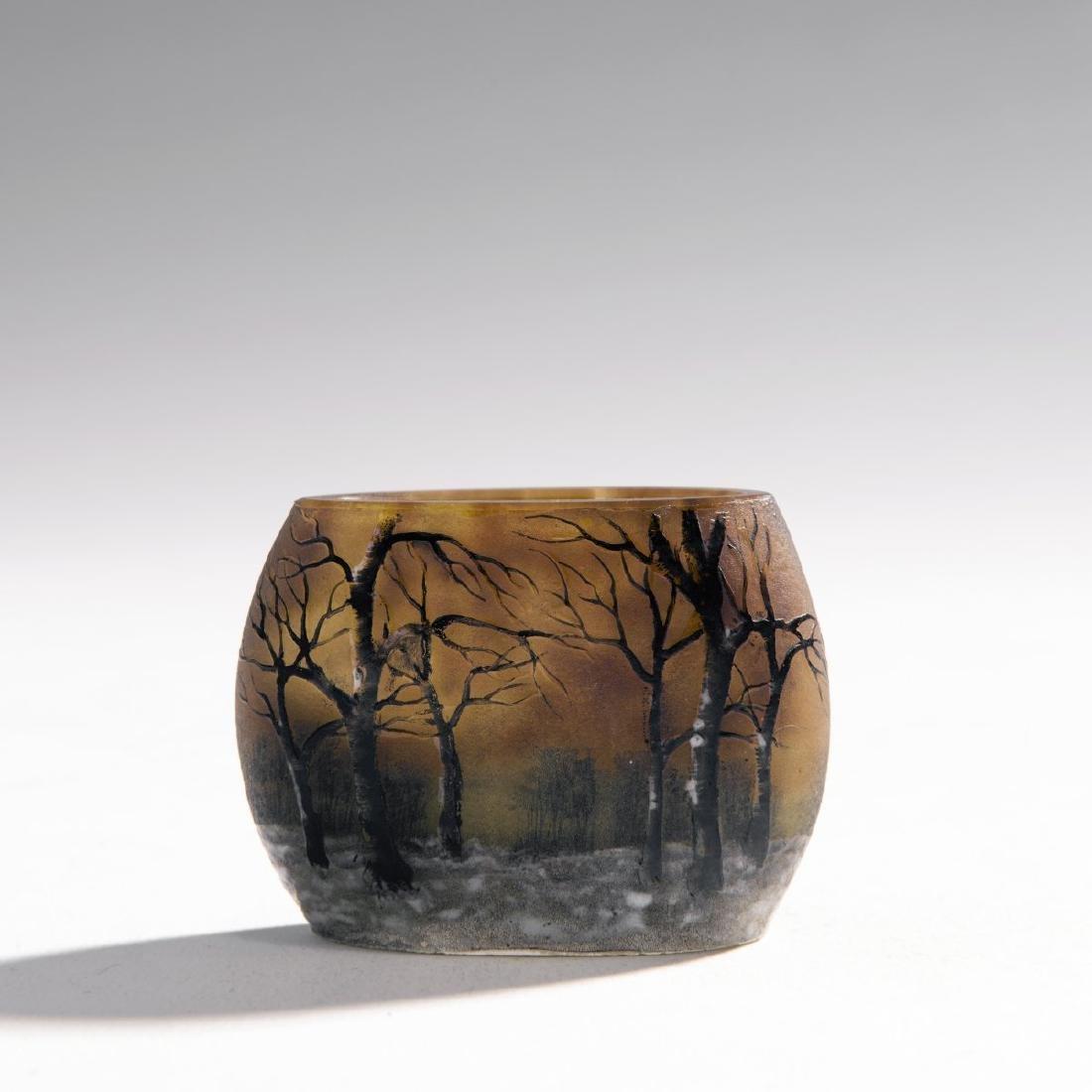 Daum Freres, Miniature 'Crepuscule neige' vase, 1900-05