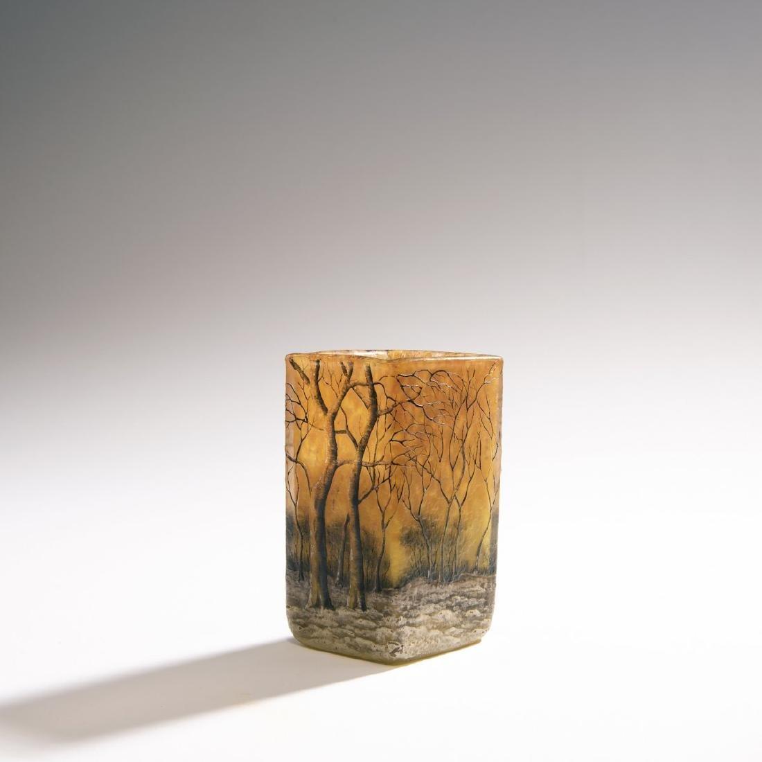 Daum Freres, 'Crepuscule Neige' vase, 1900-05