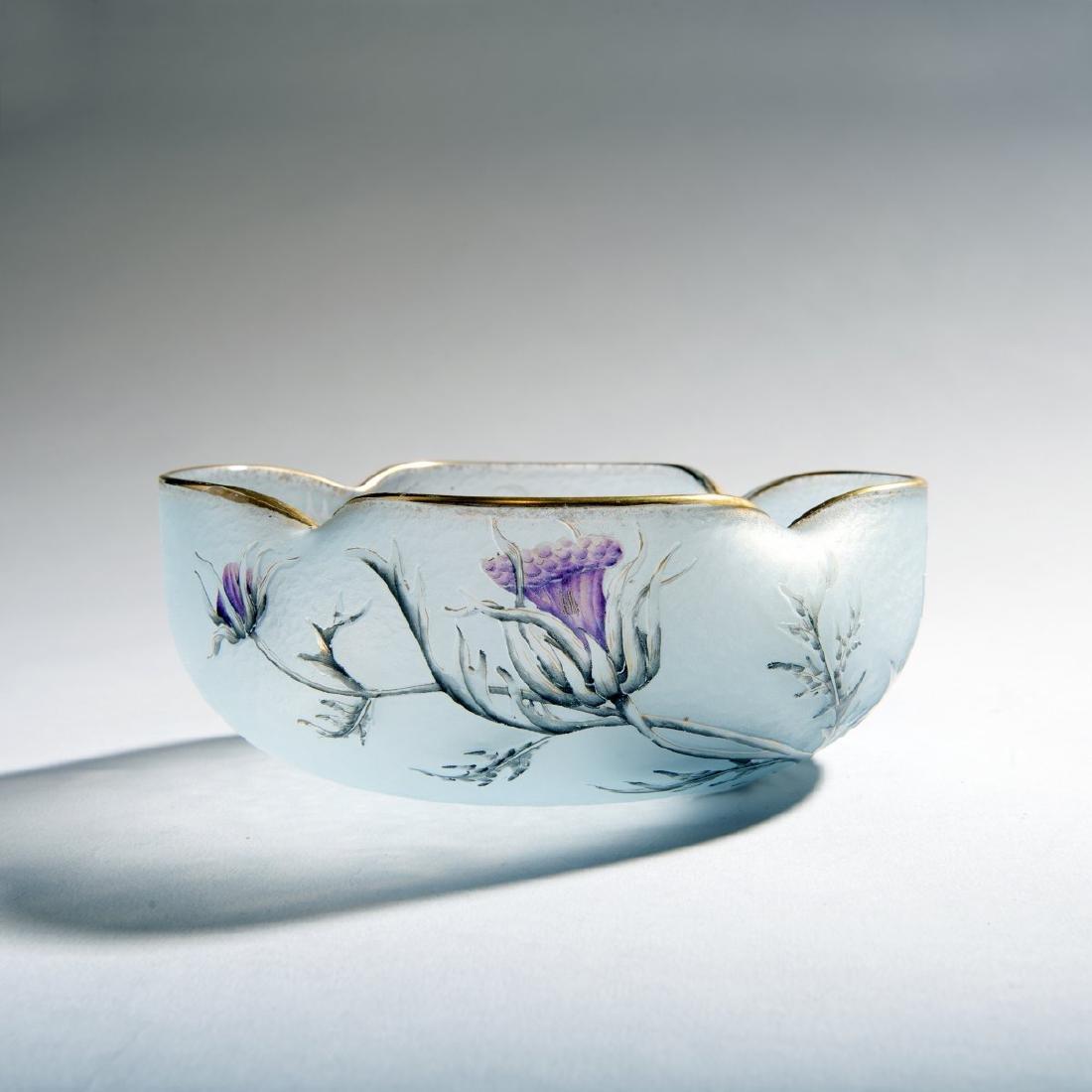 Daum Freres, 'Chardons en Fleurs', bowl, c. 1900