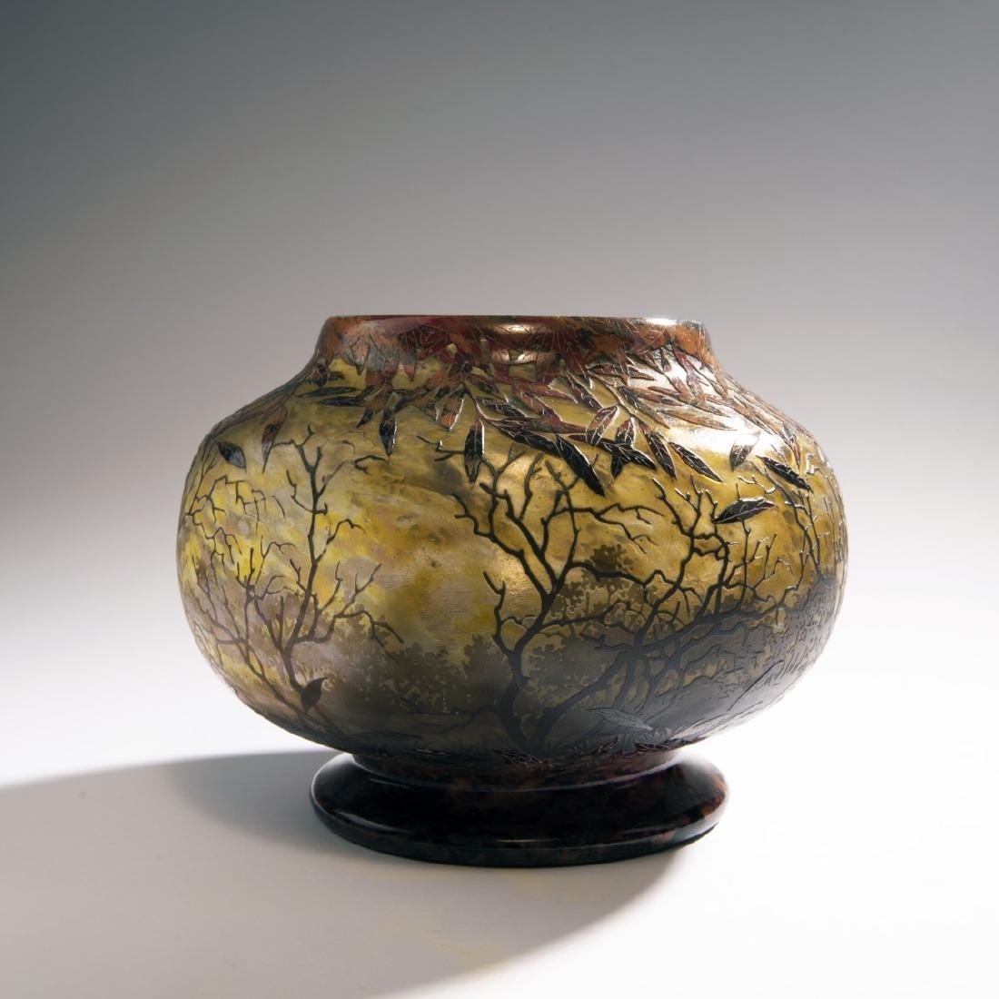 Daum Freres,  Rare vase 'Coup de Vent dans les Arbres'