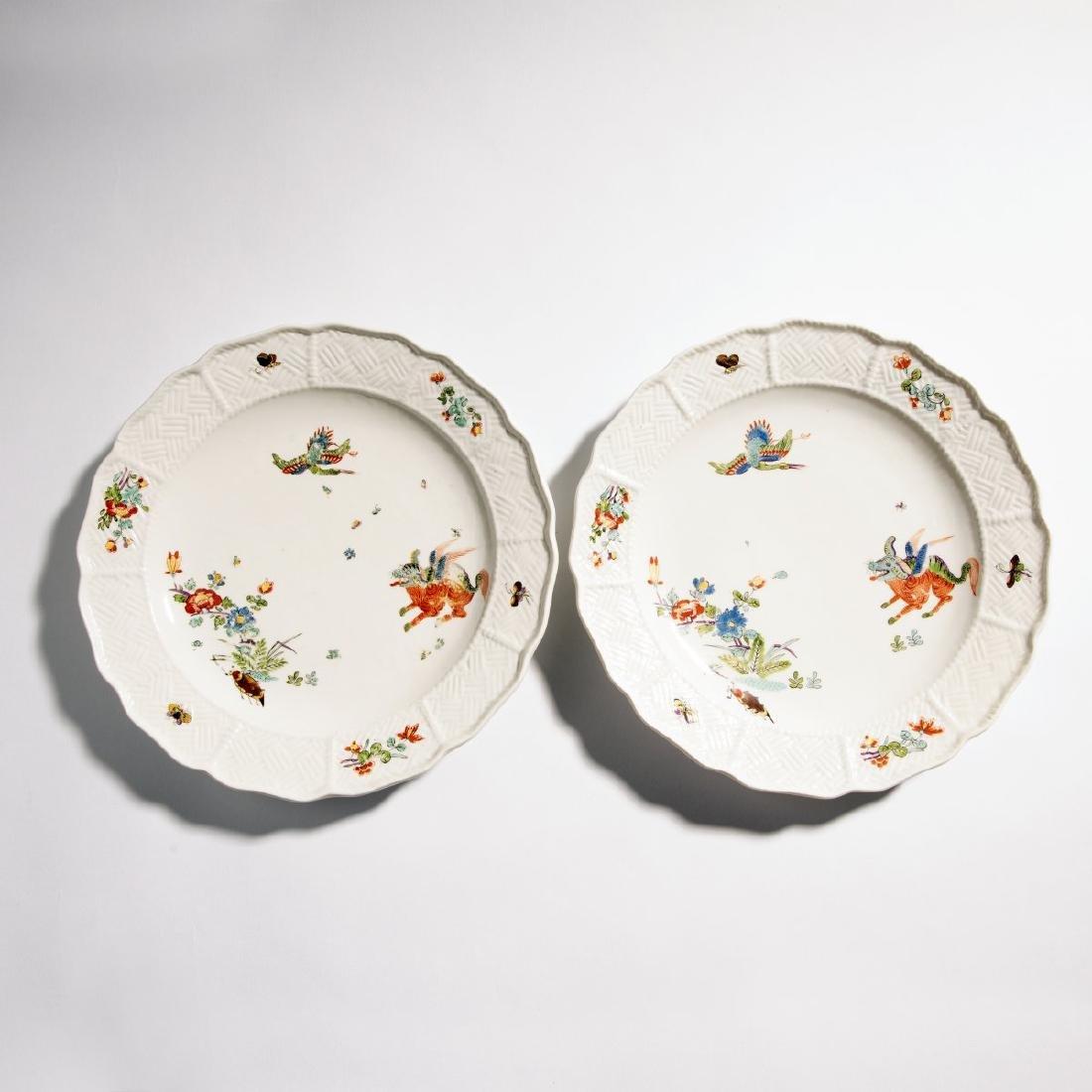 KPM Meissen, Two plates 'Flying Dog', c. 1730