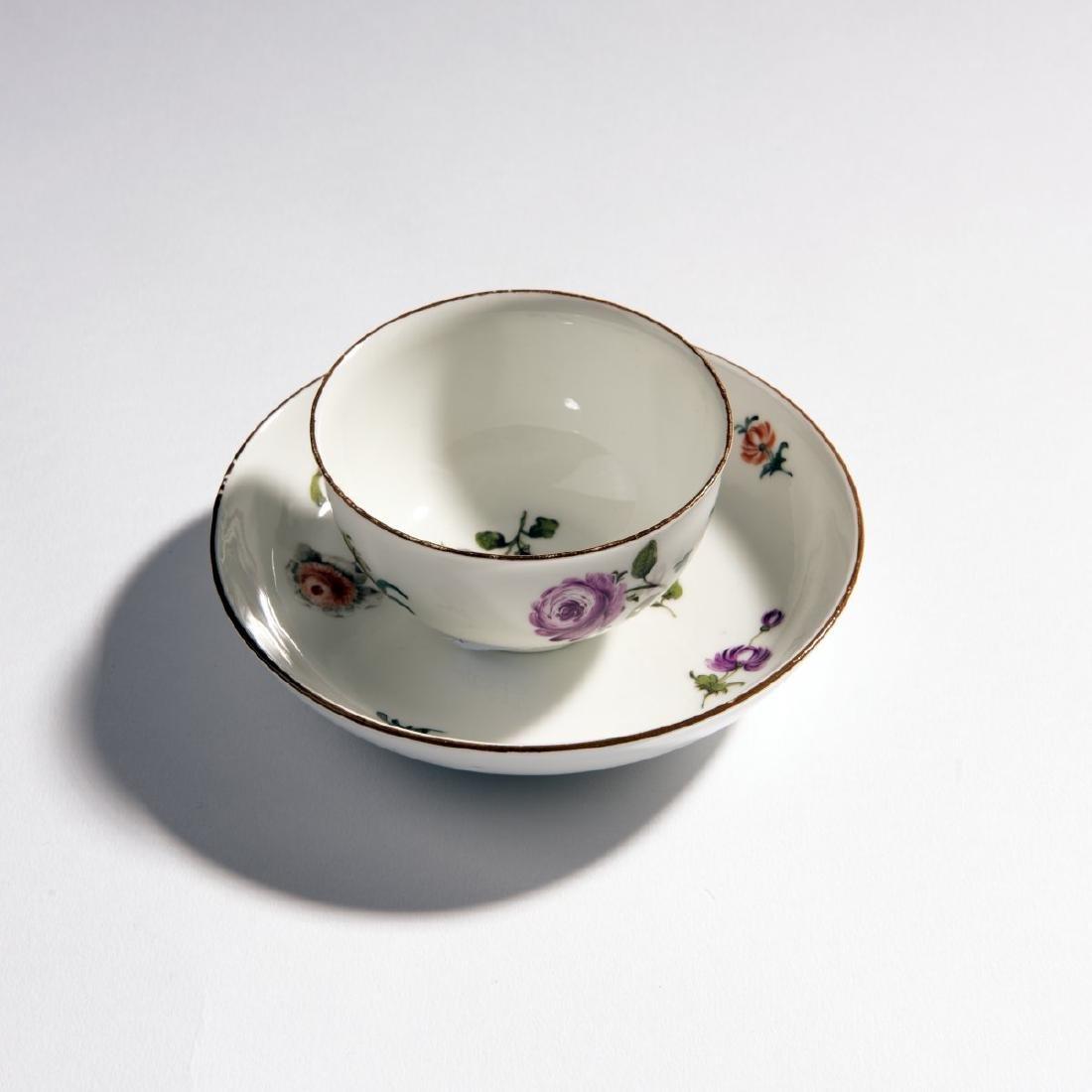 KPM Meissen, Teacup with saucer 'German Flower', c.