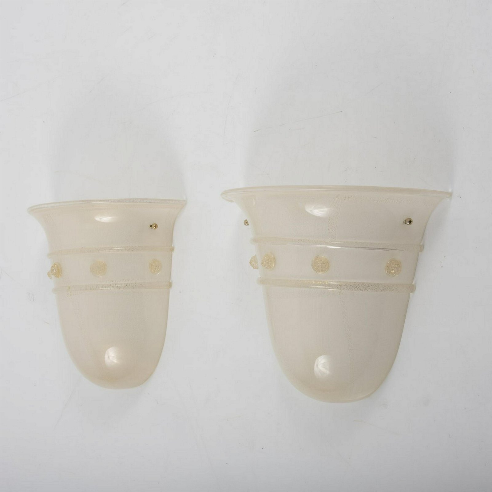 Barovier&Toso, Murano, Two wall lights, 1970/80s