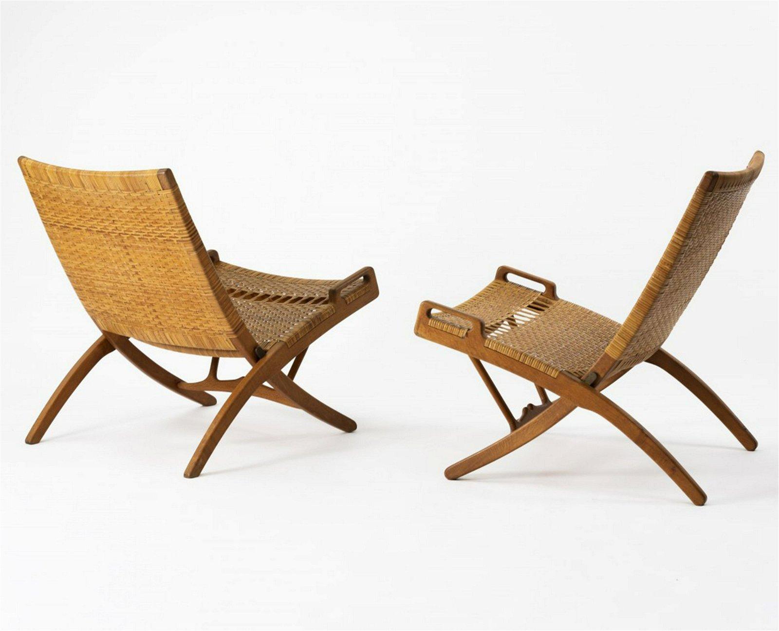 Hans J. Wegner, Two folding 'X chairs' , 1949