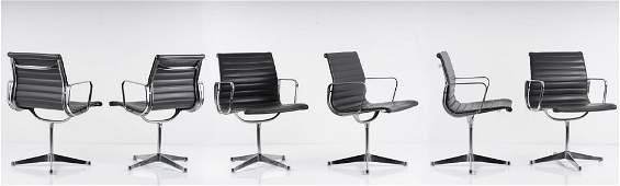 Charles Eames, 6 'Aluminium group' chairs, 1958
