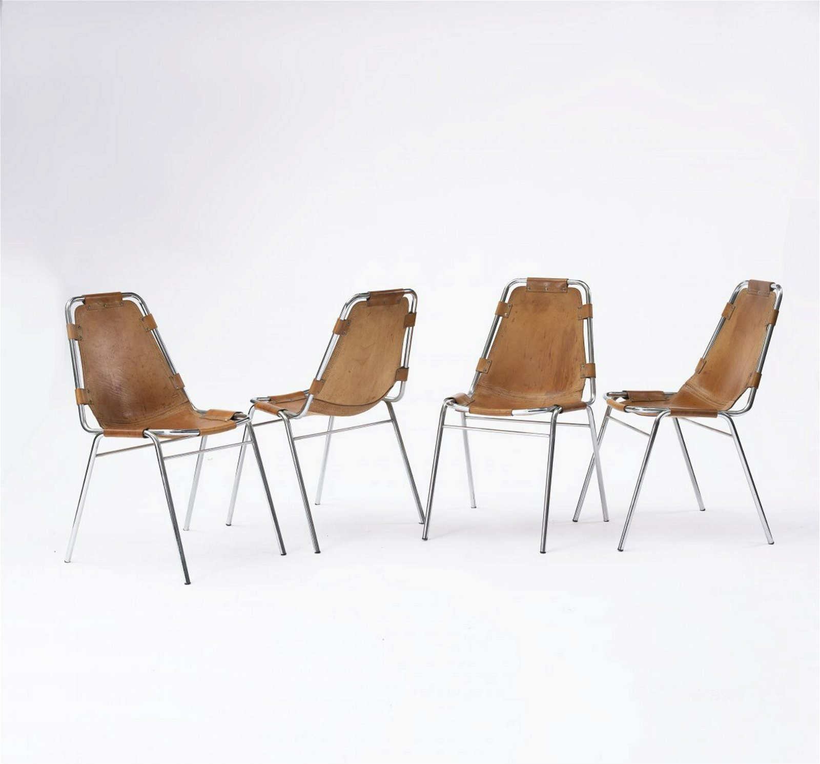 Charlotte Perriand (attributed), Four stacking chairs,