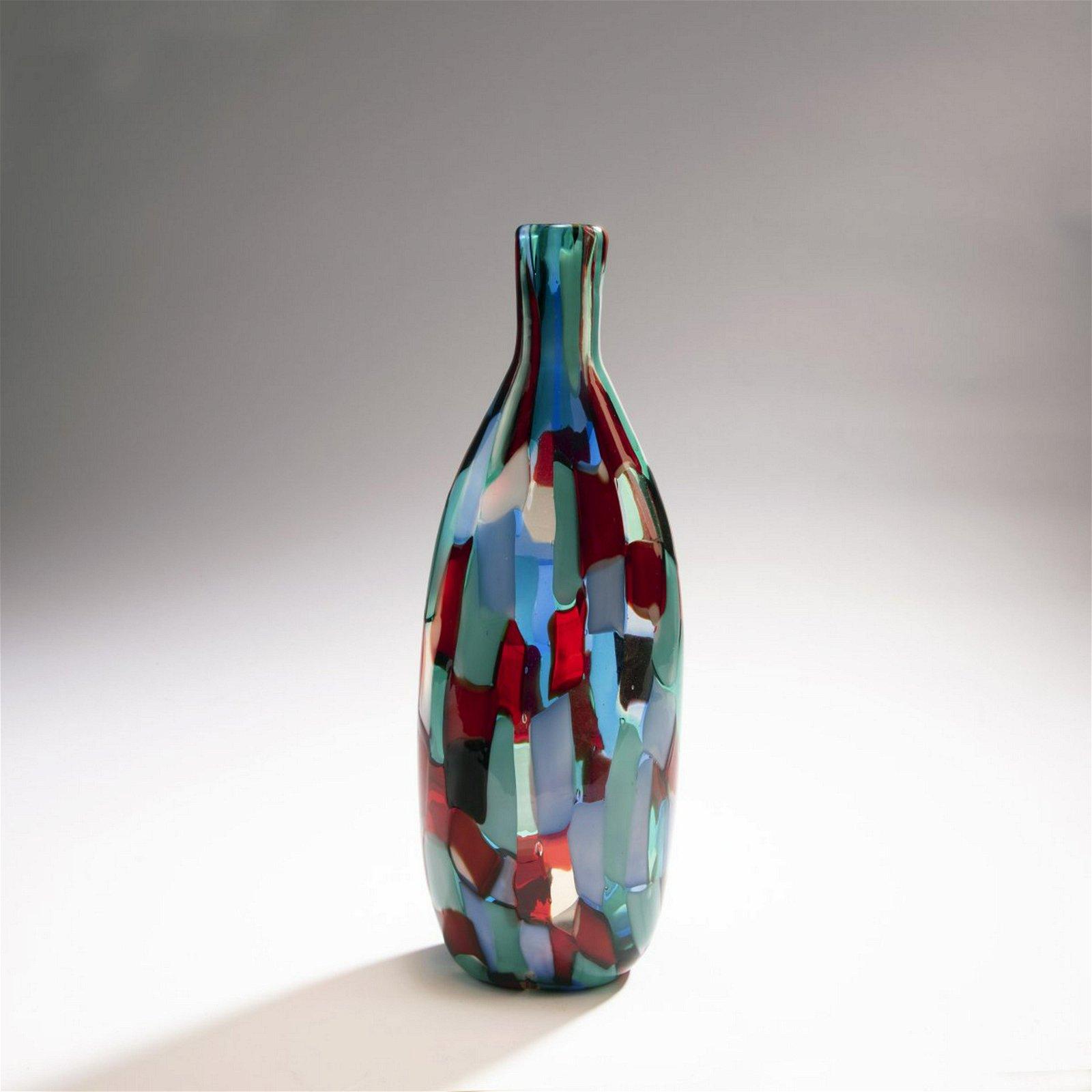 Fulvio Bianconi, Bottle vase 'Pezzato', c. 1950