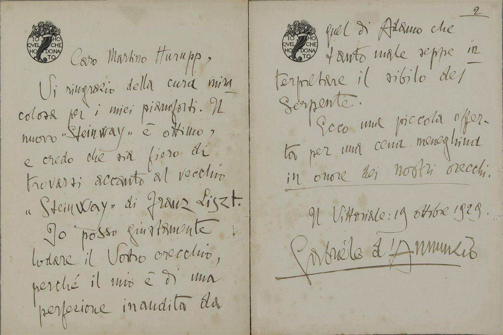Gabriele d'Annunzio, Autograph, 1929