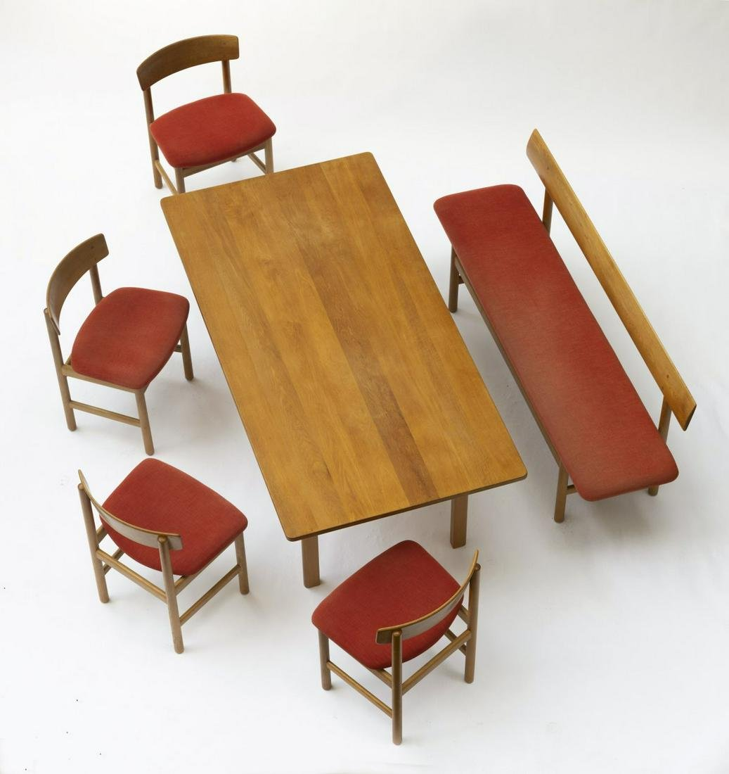 Borge Mogensen, Four chairs '3236', bench '3171' and