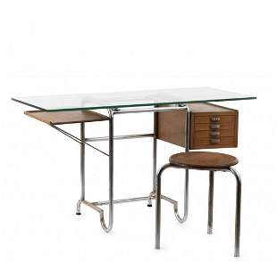 Italy, Desk and stool, 1930s