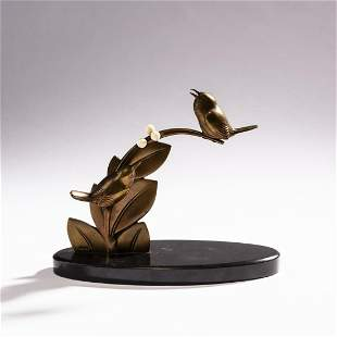 France , Two birds sitting on a branch, c. 1928