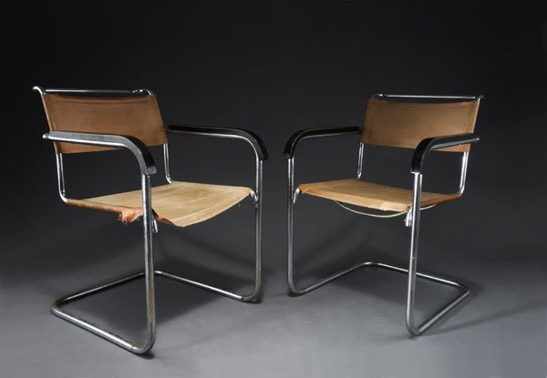 1022: Mart Stam. Two 'S-34' cantilevered chairs. Chrome