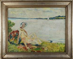 Edward Cucuel Young woman at the lake with a