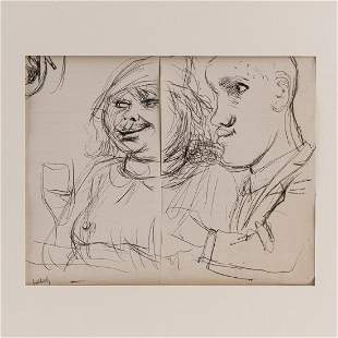Karl Hubbuch Couple with wine and sketch of an ear