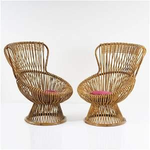 Franco Albini, Two 'Margherita' wicker chairs, 1951