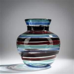 Fulvio Bianconi, Tall 'A fasce di colore' vase, c. 1953