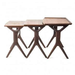 Denmark, 3 nesting tables, c. 1958