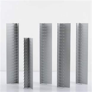 Enzo Mari, 'Teca 60' CD rack and 4 'Teca 80' CD racks,