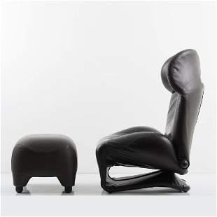 Toshiyuki Kita, 'Wink' lounge chair with ottoman, 1980