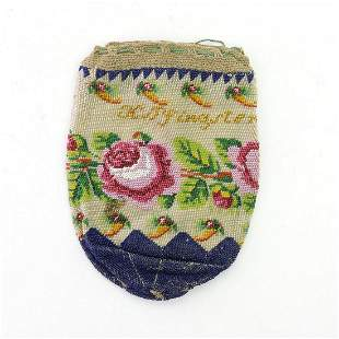 Tobacco pouch 'K. Pfingsten. 1823' with rose border and