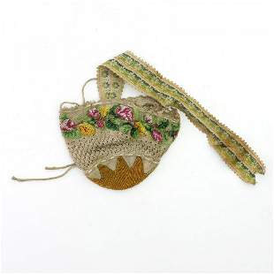 Pouch with floral border, 1st half of the 19th century