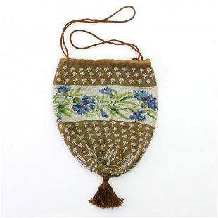 Pouch with floral border, c. 1830