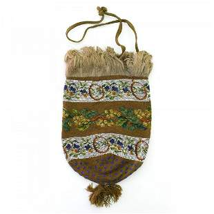 Pouch with floral borders, c. 1830