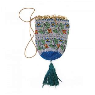 Pouch with stylised flowers, mid-19th century