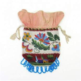 Pouch with stylised flowers and landscape with houses,