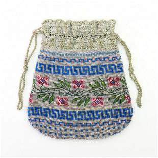 Pouch with flowers and meander decor, mid-19th century